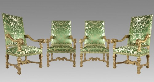 Seating  -  very rare and important suite of four armchairs louis XIV period