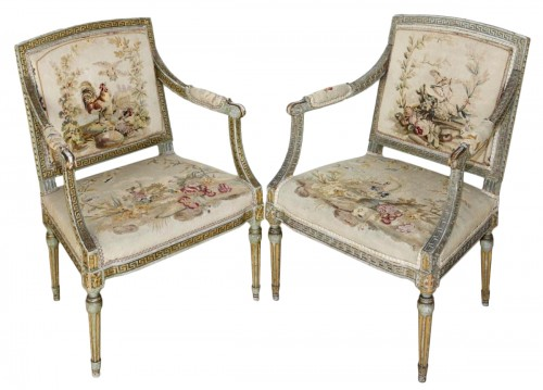 Set of 8 swedissh armchairs with aubusson tapestries attributed to ohrmark
