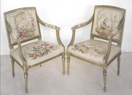Set of 8 swedissh armchairs with aubusson tapestries attributed to ohrmark - Seating Style