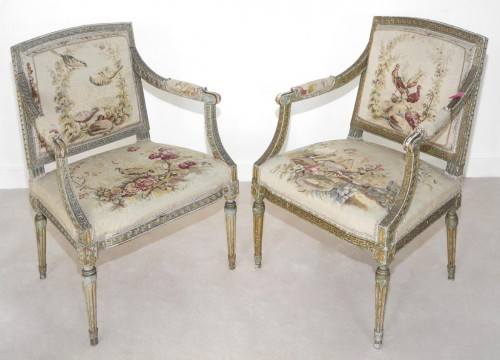 Seating  - Set of 8 swedissh armchairs with aubusson tapestries attributed to ohrmark