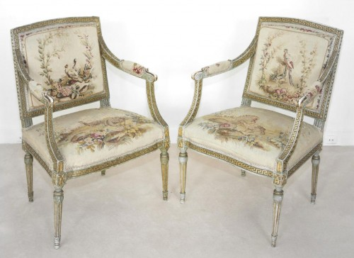 Set of 8 swedissh armchairs with aubusson tapestries attributed to ohrmark -
