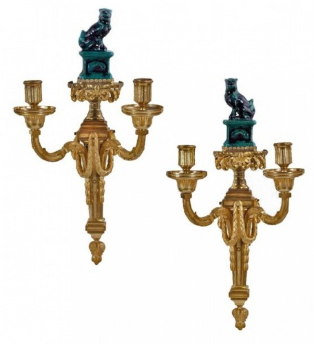 pair of sconces with two arms - louis XVI period