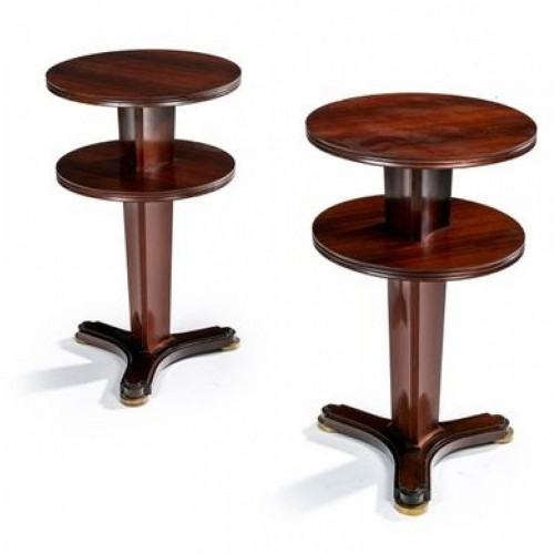 pair of smocking pedestral tables by J.Leleu