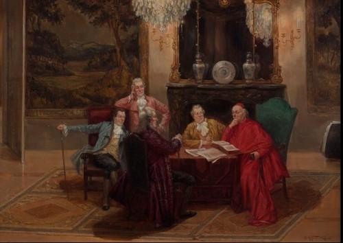 La lecture du cardinal au salon - lbert Joseph FRANKE ( 1860 – 1924)