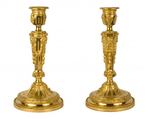 Pair of French Louis XVI flambeaux attributed to Thomire