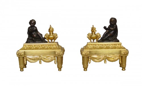 Pair of Louis XVI andirons
