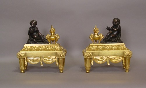 Pair of Louis XVI andirons - Decorative Objects Style Louis XVI