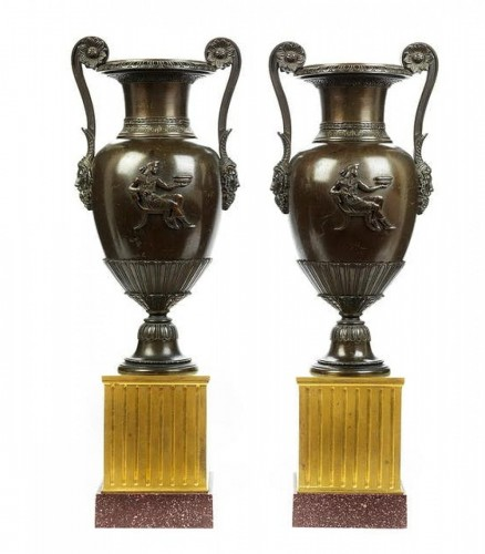 crater vases in gilded and patined bronze - 19th century