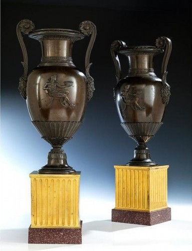19th century - crater vases in gilded and patined bronze - 19th century