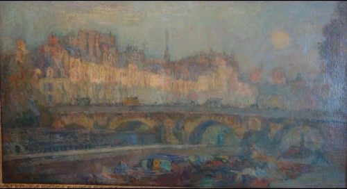 """le pont neuf et le quai conti"" in paris - Paintings & Drawings Style Napoléon III"