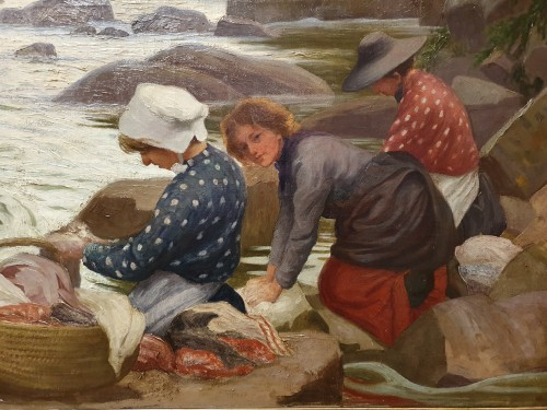 Paintings & Drawings  - The Washerwomen - Paul-Antoine Hallez (1872-1965)