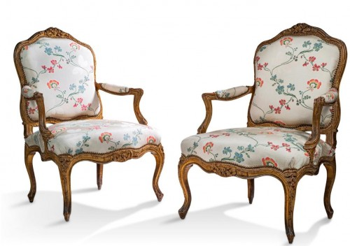 Pair of large Louis XV armchairs by Nogaret