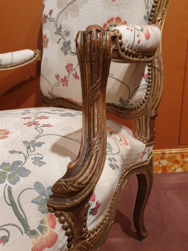 Pair of large Louis XV armchairs by Nogaret - Louis XV