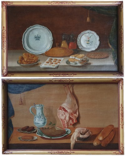 Pair of still life paintings - French school of the 18th century