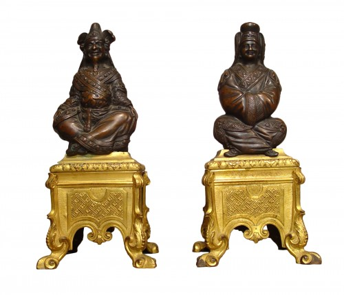 "pair of andirons with ""magots"" Louis XIV period"