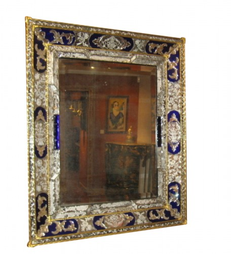 large mirror glass colored blue and graved - Venice 19th century