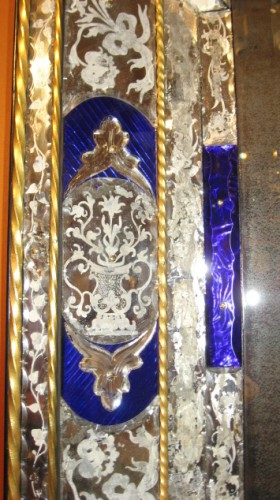 large mirror glass colored blue and graved - Venice 19th century -