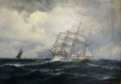 two topsail boat mast signed herpich - Paintings & Drawings Style