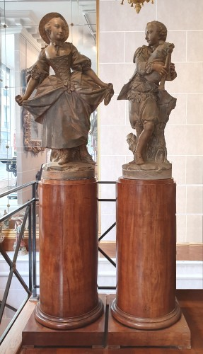 """Terracotta sculptures depicting """" the bagpiper""""and """" the dancer""""  -"""