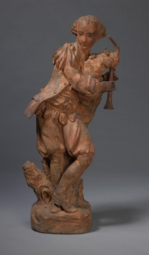 """19th century - Terracotta sculptures depicting """" the bagpiper""""and """" the dancer"""""""