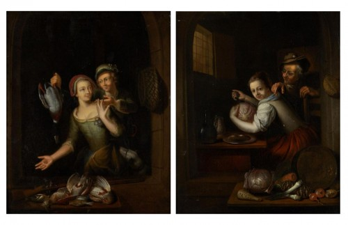 "Pair of paintings ""Cooking scene"" and ""The return of fishing"""