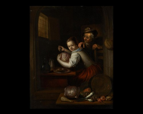 """Pair of paintings """"Cooking scene"""" and """"The return of fishing"""" - Paintings & Drawings Style"""