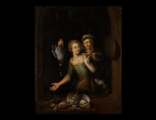 "Paintings & Drawings  - Pair of paintings ""Cooking scene"" and ""The return of fishing"""