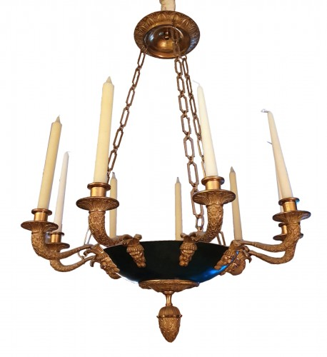 nine light chandelier - empire period