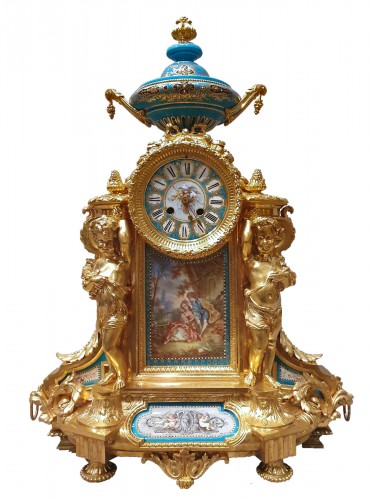 "so-called ""romantic"" clock adorned with Sèvres porcelain plaque"