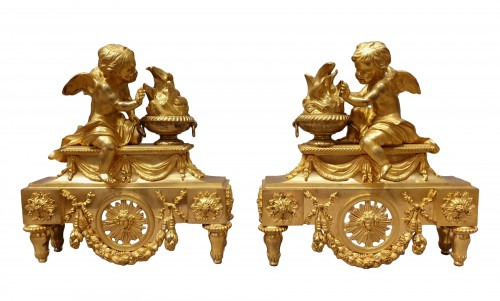 pair of andirons Louis XVI period