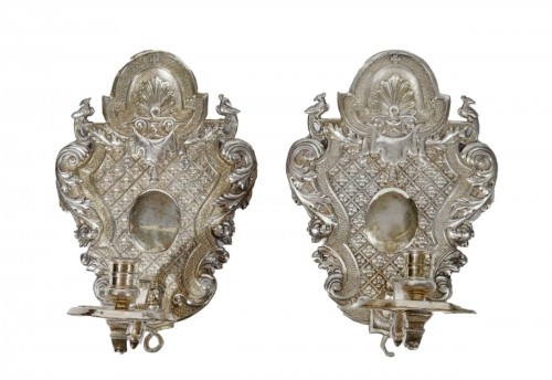 Pair of silver plated embossed copper sconces - France - 17/18th century