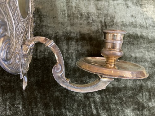Pair of silver plated embossed copper sconces - France - 17/18th century -