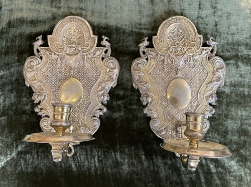Louis XIV - Pair of silver plated embossed copper sconces - France - 17/18th century