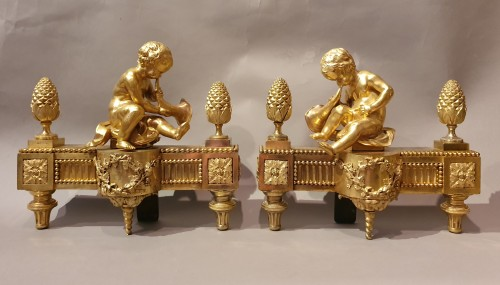 Decorative Objects  - pair of andirons Louis XVI period