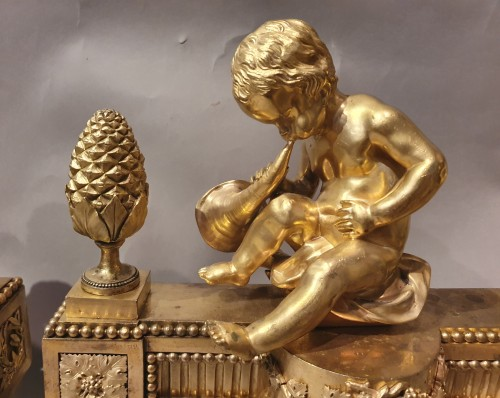pair of andirons Louis XVI period -