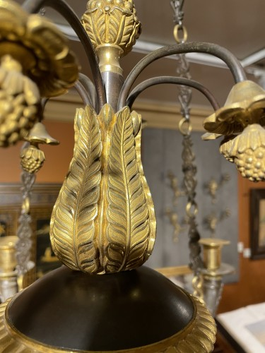 Empire - Patinated and gilded bronze chandelier with 12 sconces - Empire period