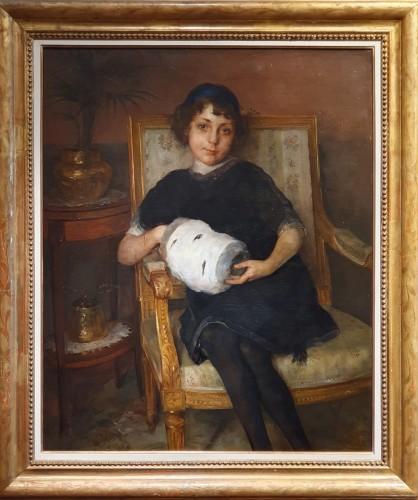 Young girl with her ermine muff - Juan Antonio GONZALES daté 1912