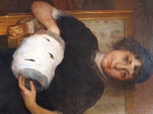 Young girl with her ermine muff - Juan Antonio GONZALES daté 1912 - Paintings & Drawings Style