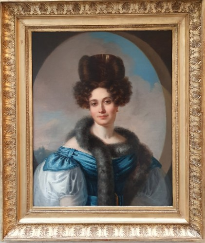 """""""Woman with a fur collar"""" attributed to Deveria - circa 1825-1830"""