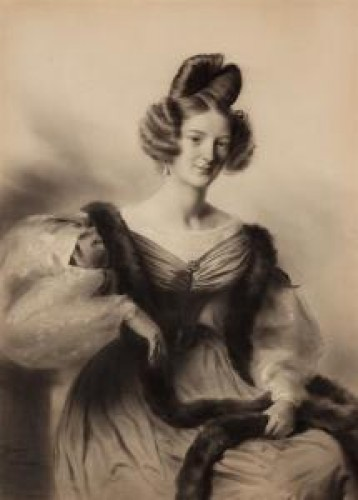 """""""Woman with a fur collar"""" attributed to Deveria - circa 1825-1830 - Paintings & Drawings Style"""