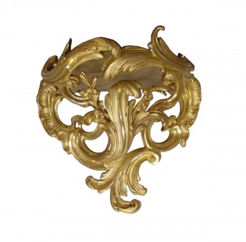 Console d'appliqueen bronze doré d'époque Louis XV
