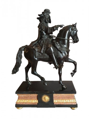 Louis XIV on horseback going into battle after  Cartelier and Petitot
