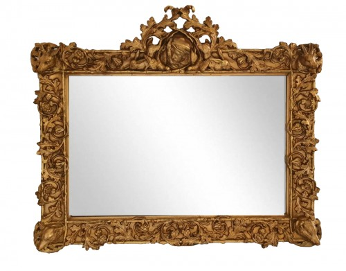 Mirror in gilded wood with hunting patterns - 19th century