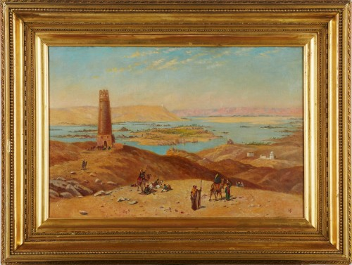 View of the Nile - English school circa 1880, signed HP