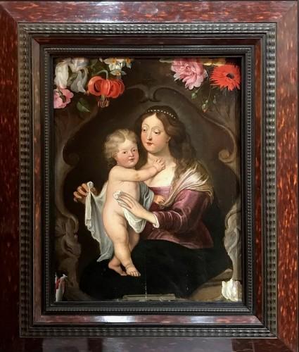 Maternité flamande aux fleurs - Antwerp school of the mid-17th century