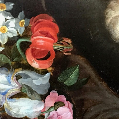 Maternité flamande aux fleurs - Antwerp school of the mid-17th century - Paintings & Drawings Style