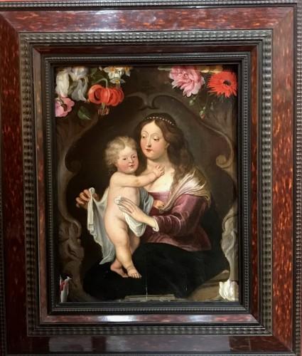Maternité flamande aux fleurs - Antwerp school of the mid-17th century -