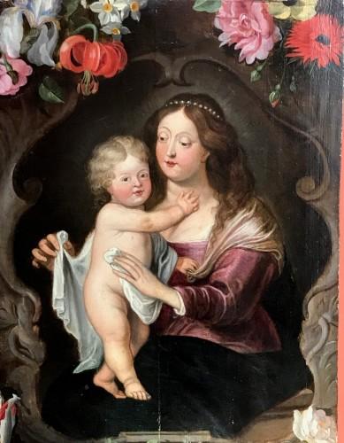 - Maternité flamande aux fleurs - Antwerp school of the mid-17th century