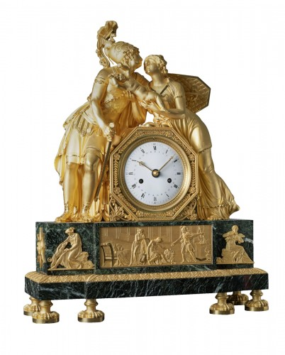 An Empire mantel clock of Hector case attributed to Claude Galle