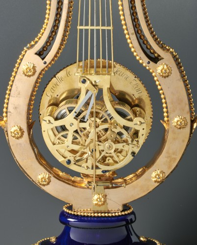 Louis XVI gilt bronze and Sèvres porcelain skeletonised lyre clock - Horology Style Louis XVI